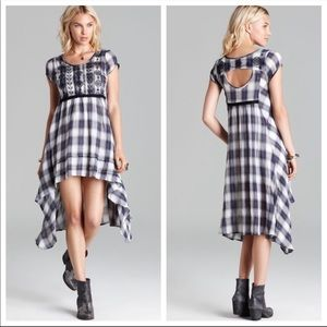 Free People Rad for Plaid high Low Dress Gray